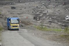 MINING CAUSED WATER CRISIS. Volcanic material mine on the slope of Volcano Merapi, Boyolali, Java, Indonesia. Indonesian environmental NGOs said that the mining stock images