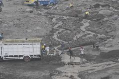 MINING CAUSED WATER CRISIS. Volcanic material mine on the slope of Volcano Merapi, Boyolali, Java, Indonesia. Indonesian environmental NGOs said that the mining royalty free stock photography
