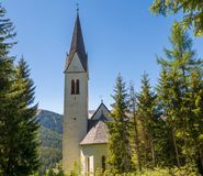 The mining chapel of S. Maddalena. The Gothic chapel was built in 1480 by the miners of Monteneve, Ridanna Valley, Racines, South. The mining chapel of S Royalty Free Stock Image