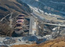 Mining complex with buildings from above. Mining complex with buildings from above stock photography