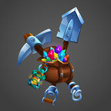 Mining concept background. Bag with gems and minerals with shovel and pickaxe. Royalty Free Stock Image