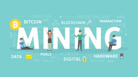 Mining concept illustration. Idea of cryptocurrency, bitcoin and business Stock Photo