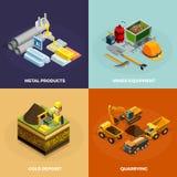 Mining Concept Isometric Icons Set vector illustration