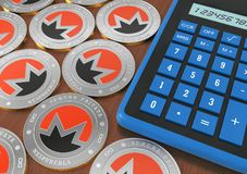 Mining of crypto-currencies. Calculator with coins of crypto currency. 3d rendering Royalty Free Stock Image