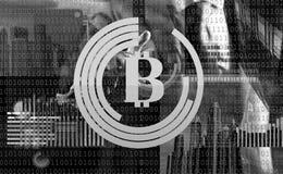 Mining crypto currency bitcoin. Solve block earn profit. Blockchain technology. Mining bitcoin. Future digital money. Bitcoin. Man interact virtual display stock illustration
