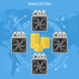 Mining crypto currency bitcoin concept Royalty Free Stock Image