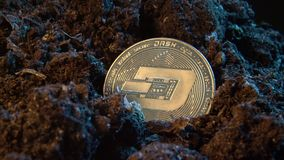 Mining crypto currency - Dash coin. Online money coin in the dirt ground. Digital currency, block chain market, online business.  stock footage