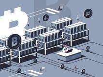 Mining crypto currency. Farm for mining bitcoins. Vector flat illustration royalty free illustration