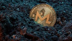 Mining crypto currency - Monerd. Online money coin in the dirt ground. Digital currency, block chain market, online business.  stock video