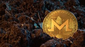 Mining crypto currency - Monerd. Online money coin in the dirt ground. Digital currency, block chain market, online business.  stock footage