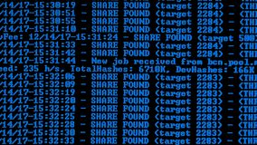 Mining Cryptocurrency process program on display PC. Using Software. Share Found. Blue Color stock footage