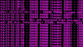 Mining Cryptocurrency process program on display PC. Using Software. Share Found. Magenta Color stock video footage