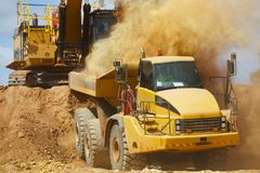 Mining Dump Truck. In Open Pit royalty free stock photo