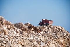 Mining dump truck. Before tipping load Stock Photo