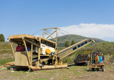 Mining equipment ready for action at otter creek, bc Stock Photo