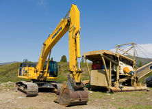 Mining equipment ready for action at otter creek, bc stock photography