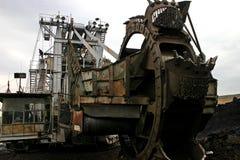 Mining excavator. Bucket-Wheel excavator at the coal mine: Bucket close-up Stock Photography