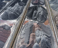 Mining excavator on the bottom surface mine. Brown coal deposits Royalty Free Stock Photo