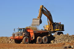 Mining excavator loading truck Royalty Free Stock Photos
