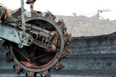 Mining excavator machine in brown coal mine Royalty Free Stock Photos