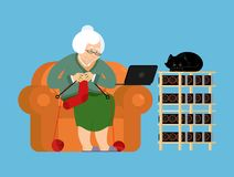 Mining farm and Grandmother. Cryptocurrency at home. Granny Extr Royalty Free Illustration