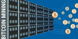 Mining farms background. Stylized flat design mining farms made of separate modules and bitcoins flying out of there Stock Images