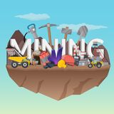Mining Flat Composition Royalty Free Stock Images