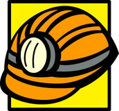 Mining helmet with light vector illustration Royalty Free Stock Photography