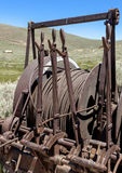 Mining hoist. Cables and control levers for mine hoist, Bodie, California USA royalty free stock photography