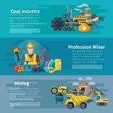 Mining Horizontal Banner Set Royalty Free Stock Photo