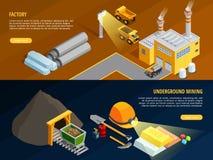 Mining Horizontal Banners Set Stock Images