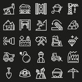 Mining Icon collection for web, app. Vector illustration on black background Stock Images