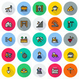 Mining Icon collection for web, app. Vector illustration on round background Stock Illustration