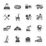 Mining Icons Black Stock Image