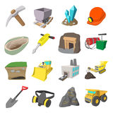 Mining icons cartoon set Stock Image
