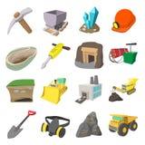 Mining icons cartoon set Royalty Free Stock Images