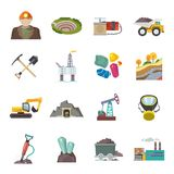 Mining Icons Flat Royalty Free Stock Photo