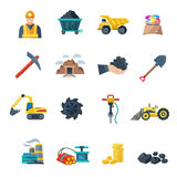 Mining Icons Flat Stock Photography