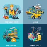 Mining Icons Flat Set Stock Images