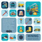 Mining Icons Flat Set Royalty Free Stock Photos