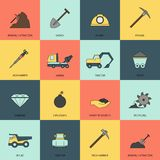 Mining icons line flat Royalty Free Stock Photo