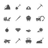 Mining icons set. Mining coal gold and diamond industry black icons set isolated vector illustration Stock Photo