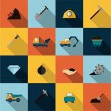 Mining Icons Set Flat Royalty Free Stock Photography