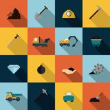 Mining Icons Set Flat. Underground mining mineral industry flat icons set isolated vector illustration Royalty Free Stock Photography