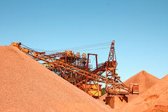 Mining Industry. Huge  conveyor belt in an indutrial Plant for mining of basic materials Royalty Free Stock Photography