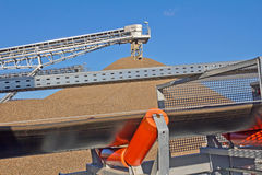 Mining Industry. Conveyors and gravel heap at an industrial Plant for mining of basic materials Royalty Free Stock Photography