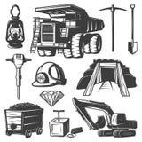 Mining Industry Elements Set. Monochrome isolated mining industry elements set with retro style images of professional technics on blank background vector vector illustration
