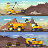 Mining Industry Orthogonal Banners Set Royalty Free Stock Image