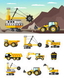 Mining Industry Orthogonal Concept. With rock formations extraction and set of icons with machineries isolated vector illustration Stock Photography