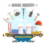 Mining Industry Round Composition Stock Photos